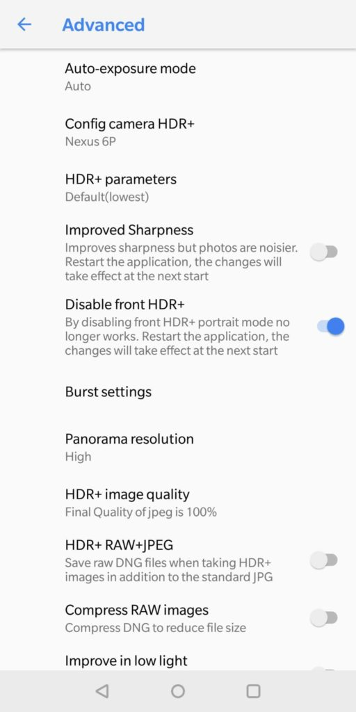 Settings for GCam
