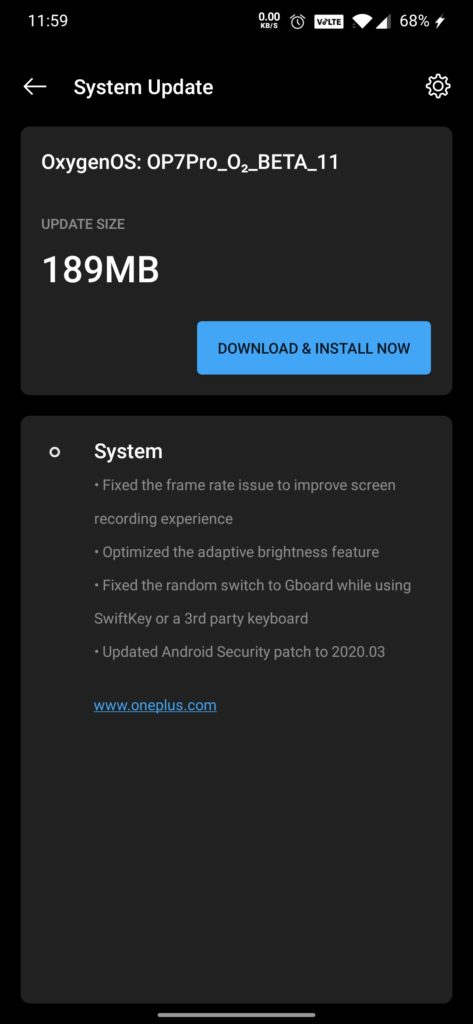 Oneplus 7 and 7 Pro Open beta 11