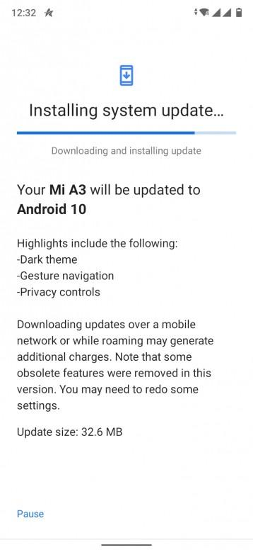 Android 10 Update Mi A3