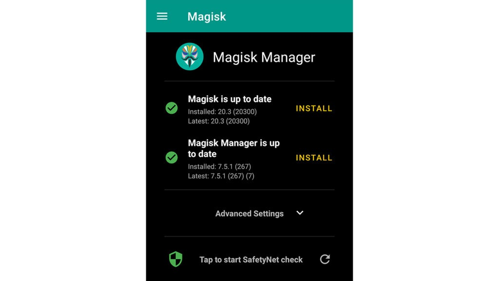 Magisk Manager Root status