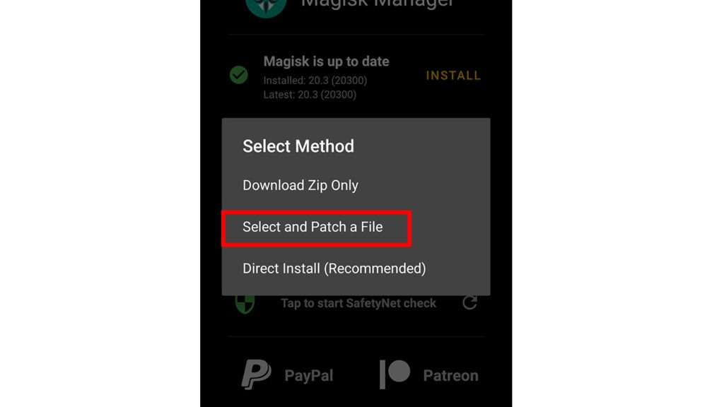 Magisk Select and Patch Boot.img file