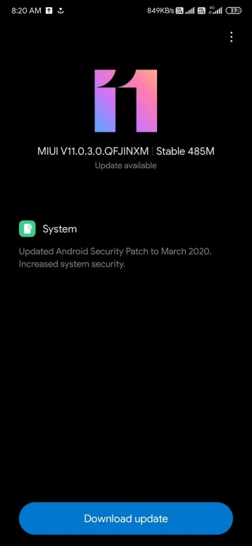 MIUI 11.0.3.0 update Redmi K20