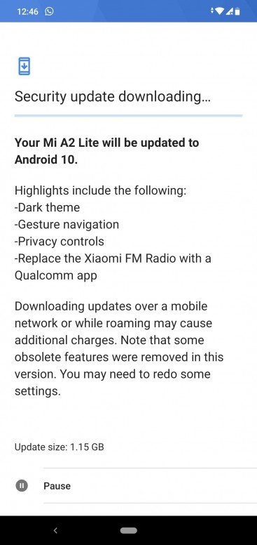 Android 10 update for Mi A2 Lite